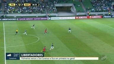 Palmeiras vence San Lorenzo e se garante na ponta do grupo da Libertadores - Com a vitória por 1 a 0, Versão se garantiu no primeiro lugar geral da competição.