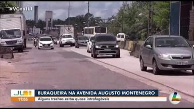 Trecho da avenida Augusto Montenegro está intrafegável por excesso de buracos - Confira as informações com o repórter Guilherme Mendes