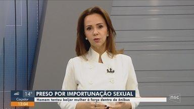 Homem é preso por suspeita de importunação sexual dentro de ônibus em Florianópolis - Homem é preso por suspeita de importunação sexual dentro de ônibus em Florianópolis