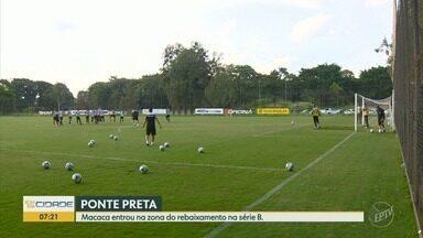 Ponte Preta se prepara para jogo contra o Operário em Campinas - Time entrou na zona de rebaixamento.