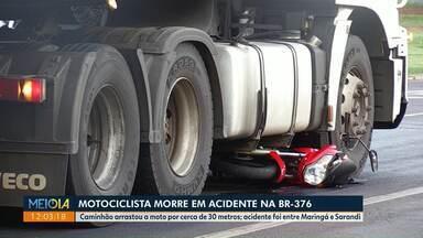 Motociclista morre em acidente na BR-376 - Acidente foi entre moto e caminhão na manhã desta quinta-feira (16), entre Maringá e Sarandi.