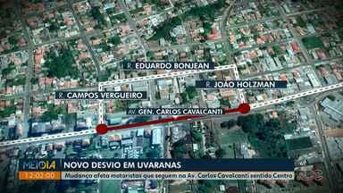 AMTT faz novo desvio na Avenida Carlos Cavalcanti, em Ponta Grossa - Mudança interfere no trajeto de motoristas que seguem na Av. Carlos Cavalcanti sentido Centro.