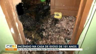 Incêndio atinge casa onde mora idoso de 101 anos - Confira mais notícias em g1.globo.com/ce