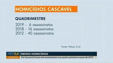 Cascavel registra queda no número de homicídios - Em 2019, foram registrados seis homicídios. Em 2018, foram 16.