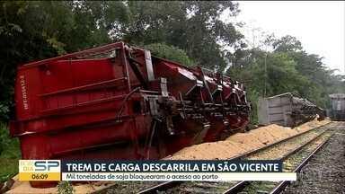 14 vagões carregados com mil toneladas de soja descarrilam em São Vicente - Ferrovia, que é um dos principais acessos ao Porto de Santos, está bloqueada. Ninguém se feriu,