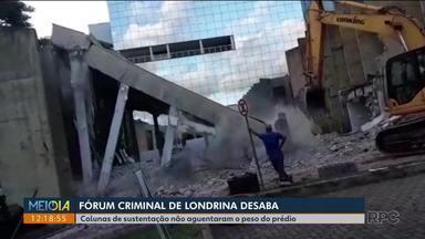 Que susto! - Funcionários trabalhavam na demolição do Fórum criminal de Londrina quando tudo desabou. Duas pessoas ficaram feridas