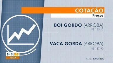 Veja os destaques do noticiário rural na região de Presidente Prudente - Arroba do boi gordo fechou a semana cotada a R$ 155,13.