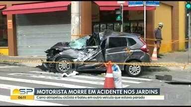 Motorista de 75 anos morre em acidente nos Jardins - Ela tinha acabado de encostar o carro quando ele arrancou com tudo, atingiu um ciclista e outro veículo
