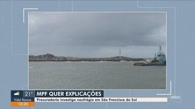 MPF investiga naufrágio de balsa com módulos da Petrobras em São Francisco do Sul - MPF investiga naufrágio de balsa com módulos da Petrobras em São Francisco do Sul