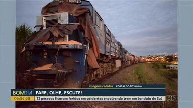 12 pessoas ficaram feridas em acidentes envolvendo trem em Jandaia do Sul - Falta atenção, mas segundo os moradores e motoristas falta também sinalização na linha férrea
