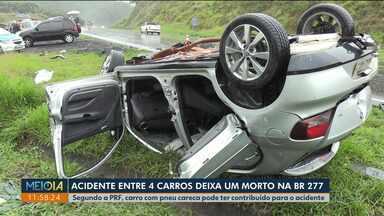 Acidente entre 4 carros deixa um morto na BR 277, em Palmeira - Segundo a Polícia Rodoviária Federal, carro com pneu careca pode ter contribuído com o acidente.