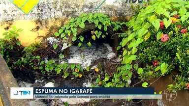 Espuma que sai de madeireira e cai no igarapé do Urumari será analisada pela Semma - Material foi coletado por fiscais.