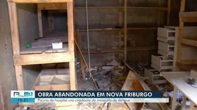 Piscina de hospital de Nova Friburgo, RJ, vira criadouro de mosquito da dengue - Assista a seguir.