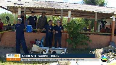 Polícia Federal e Aeronáutica fazem perícia no local do acidente com Gabriel Diniz - O repórter Rafael Carvalho tem mais informações.