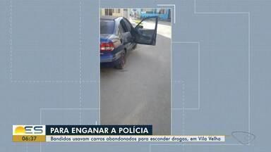 Criminosos usam carros abandonados para esconder drogas, em Vila Velha - Três pessoas foram presas.