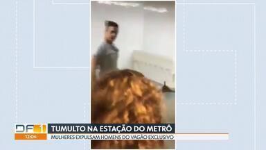 Homens são expulsos de vagão exclusivo para mulheres - A confusão foi na estação galeria do metrô, na quarta-feira, depois do show da cantora Marília Mendonça, na Torre de TV.