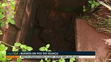 Após sugestões de moradores, Meio-Dia Paraná para mostrar situação de bueiros por Foz - Tem muitos bueiros abertos pela cidade.