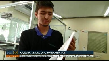 Estudante protocola pedido para abertura de processo administrativo contra vereadora - Ele alega quebra de decoro parlamentar da vereadora Rosane Bonho, do PP.