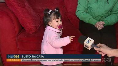Menina passa por endoscopia depois de engolir pilha em Ponta Grossa - Pediatra diz o que fazer em situações assim.