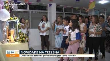 Conheça a devota que cria paródias para homenagear Santo Antônio em trezena - O santo, que é um dos mais populares do catolicismo, é celebrado por milhares de pessoas em toda a Bahia.