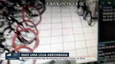 Loja é arrombada em Porto Canoa, na Serra - Os criminosos fugiram levando bicicletas e acessórios.