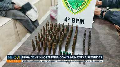 Briga entre vizinhos termina com um preso e 72 munições apreendidas - Homem de 34 anos foi preso em flagrante, na Zona 4.