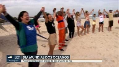 Dia mundial dos Oceanos tem ação de limpeza nas praias da Zona Oeste - ONG Route Brasil promove mutirão de limpeza e consciência ecológica nas praias do Recreio e da Barra da Tijuca.