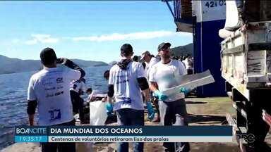 Voluntários limpam mar no dia do oceano - Foram retiradas sete toneladas de lixo.