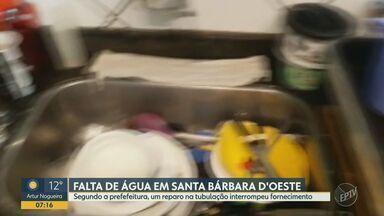 Bairro de Santa Bárbara fica sem água nesta segunda - Prefeitura procura normalizar a situação o mais rápido possível.