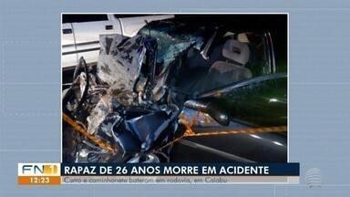 Acidente de trânsito provoca a morte de uma pessoa em rodovia em Caiabu - Colisão envolveu caminhonete e carro.