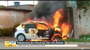 Perseguição Policial na Asa Sul e em Ceilândia - Na L2 sul, policiais militares atiraram nos pneus do carro para conter motorista. Já em Ceilândia, carro pega fogo após fugitivo perder o controle da direção e bater o veículo em um muro.