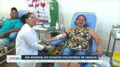 Dia mundial do doador voluntário de sangue - Em Cacoal, a Fhemeron recebeu os doadores durante todo o dia.