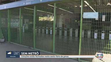 Metrô de Belo Horizonte não funciona em dia de greves e atos contra reforma da previdência - Estações do metrô ficaram fechadas durante toda a manhã. Os metroviários aderiram à greve contra a reforma da previdência.