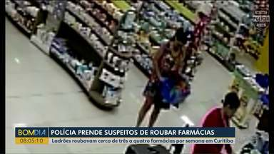 Polícia prende suspeitos de roubar farmácias - Ladrões roubavam quatro farmácias por semana, em Curitiba.