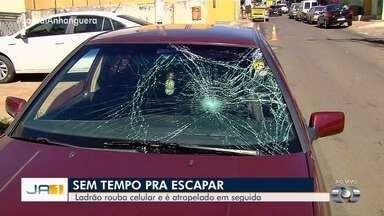 Suspeito de roubar celular é atropelado ao tentar fugir, em Aparecida de Goiânia - Jovem foi preso e objetos roubados foram apreendidos.