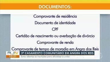 Abertas inscrições para casamento comunitário em Angra dos Reis - Serão oferecidas 200 vagas.Advogado fala sobre as regras, leis e tipos de casamento.