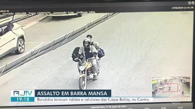 Loja Casas Bahia é assaltada em Barra Mansa - Caso aconteceu na Avenida Joaquim Leite, no Centro. Polícia investiga imagens de câmeras de segurança para localizar suspeitos.