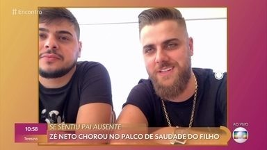 Zé Neto conversa com Fátima sobre choro de saudades do filho durante um show - Cantor conta que se sentiu um pai ausente quando o filho de 2 aninhos se recusou a falar com ele para protestar