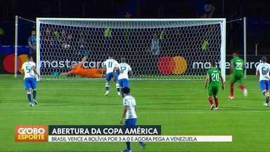 Brasil vence Bolívia no jogo de abertura da Copa América - Em Brasília, torcida acompanhou a vitória de 3 a 0 do Brasil sobre a Bolívia.