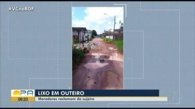 População reclama de lixo acumulado em Outeiro - O lixo estaria espalhado pelas ruas do distrito.