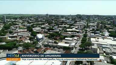 Expoflor, feira de artesanato e food truck marcam comemorações do aniversário de Umuarama - Toda estrutura foi montada no local onde acontece a feira do produtor.
