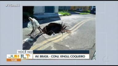 Telespectador denuncia buraco em rua do conj. Xingu, no bairro do Coqueiro - Telespectador denuncia buraco em rua do conj. Xingu, no bairro do Coqueiro