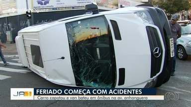 Goiânia registra acidentes no feriado de Corpus Christi - Maioria dos shoppings abrem normalmente.