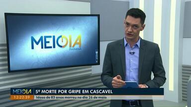 Quinta morte por gripe é confirmada em Cascavel - Idoso de 83 anos morreu no dia 26 de maio, em um hospital particular. Cidade já tem 18 casos da doença confirmados.