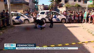 Preso por assassinar a ex-mulher também planejava matar o namorado dela, diz polícia no ES - Jean Silva dos Santos foi preso na madrugada desta quinta-feira (20), no bairro Vista Dourada, em Cariacica. Maria Madalena, de 38 anos, foi morta a tiros na frente da família.