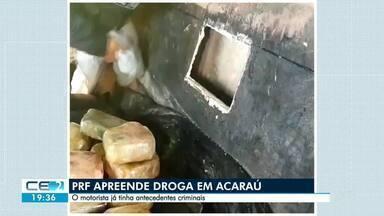 PRF apreende droga em Acaraú - Motorista já tinha antecedentes criminais.
