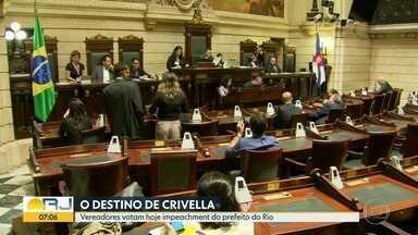 Vereadores do Rio votam impeachment de Marcelo Crivella nesta terça-feira (26) - Os vereadores do Rio decidem se o prefeito Marcelo Crivella sofrerá ou não impeachment. A expectativa na Câmara é de que o processo seja arquivado.