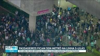 Queda de cabo elétrico paralisou o metrô na linha 5-lilás - O metrô ficou sem energia para a circulação dos trens entre as estações Capão Redondo e Santo Amaro