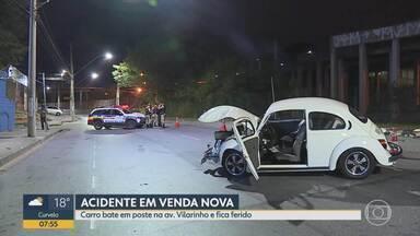 Médico que dirigia Fusca bate em poste na Região de Venda Nova, em Belo Horizonte - Segundo a Polícia Militar, ele tem 30 anos e passava férias na capital mineira.