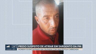 Foi preso o suspeito de atirar no sargento da PM em Ceilândia - A polícia encontrou Rafael Alves Ribeiro na casa dele em Ceilândia Norte. Junto também foi achada uma pistola carregada. A polícia acredita que seja a arma que quase matou o sargento da policia militar, João Batista do Rego Monteiro no dia 20 de junho.